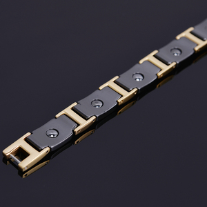 Image 4 - Gold Color Polished Stainless Steel Women Bracelets For Men Luxury Ceramic Health Care Energy Magnetic Man Bracelet Male Female