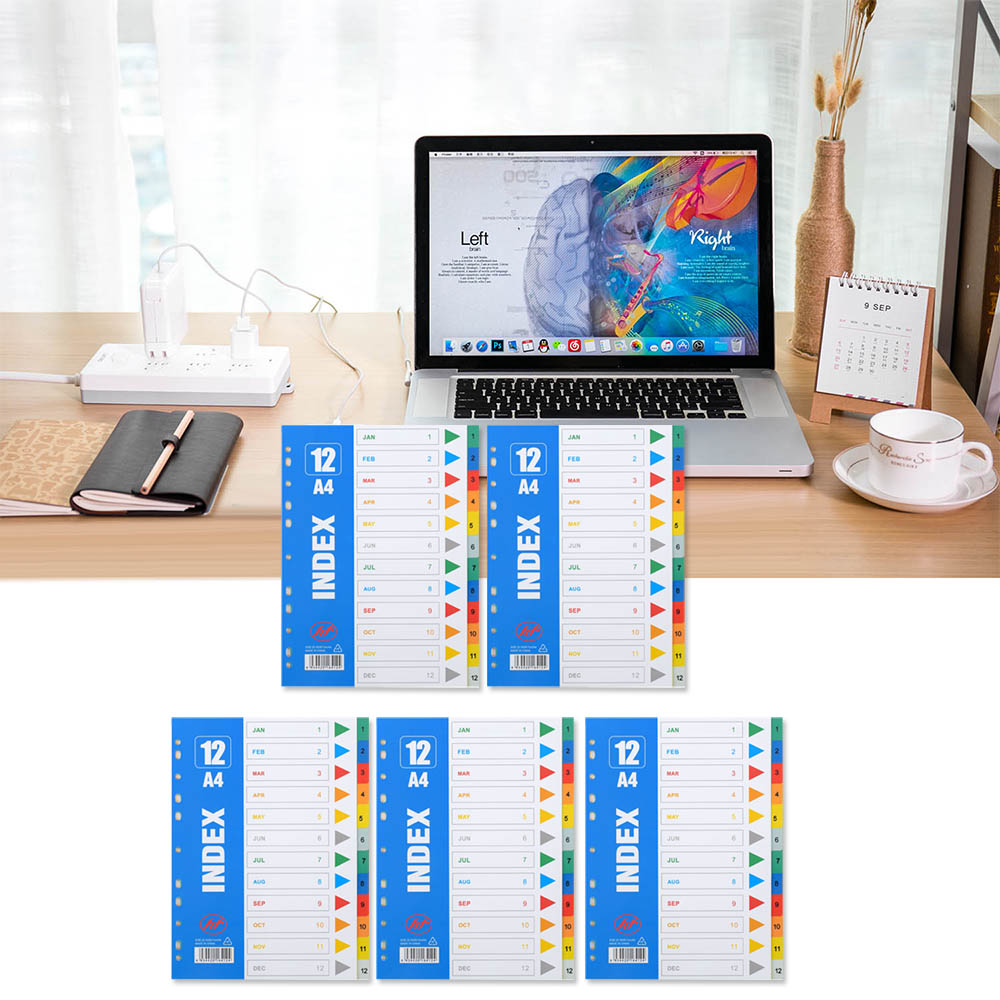 5 Sets A4 Size Plastic Binder Index Dividers whih 12 Tabs for Home School Office Library Workplace Business Supplies