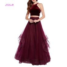 2018 Two Pieces Formal Dresses Halter Tulle Long Women Prom Party Sexy Backless Ruched Quinceanera vestido