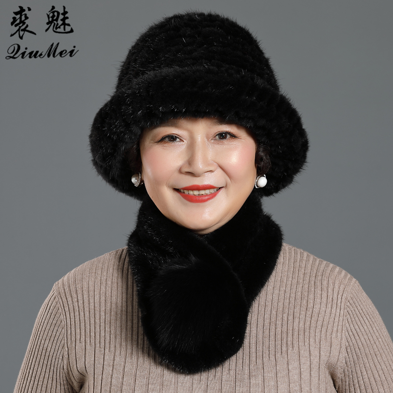 2 Pieces Lady Winter Genuine Mink Fur Bucket Hats Scarves Set Knitted Women Warm Natural Mink Fur Caps With Fox Fur Ball Scarf