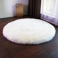 Big round 100cm real sheepskin rug for home decor sheep skin fur ground mat bed slide carpet door mat fur floor cover door mat