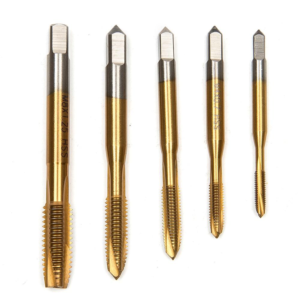 HOT ! HSS Titanium Machine Right Hand Tap Drill 3 Flute M3 M4 M5 M6 M8 Spiral Point Thread Plug Handle Taps Die Set