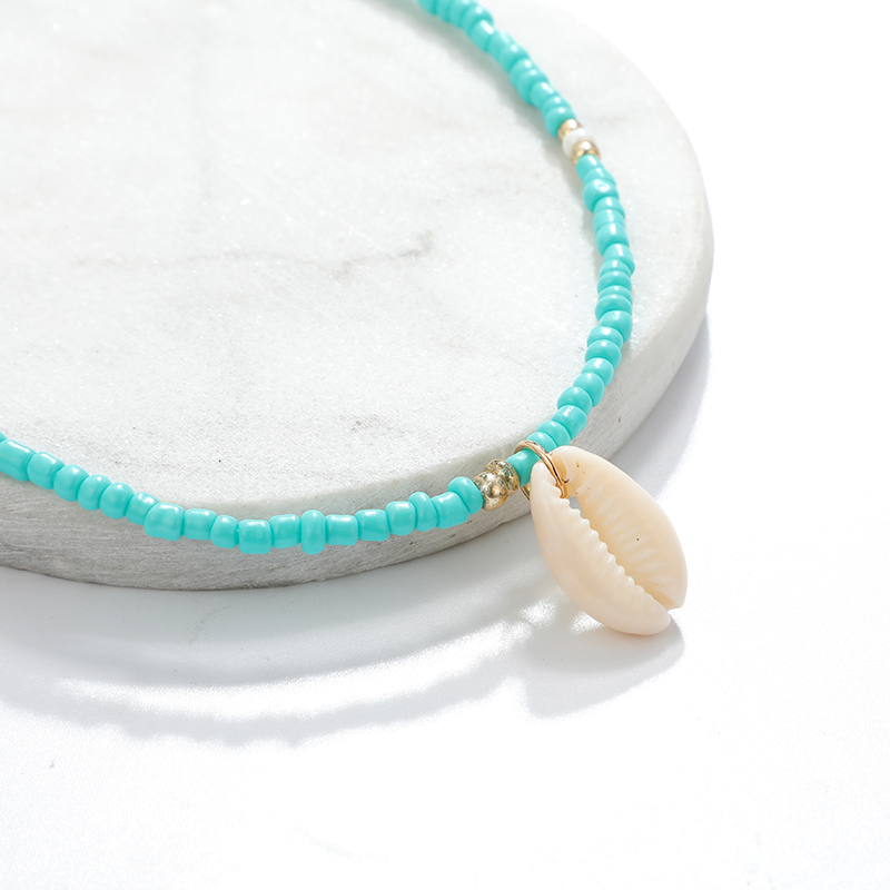 HuaTang Bohemian Green Rhinestone Shell Choker Pendant Necklace for Women Charming Bead Jewelry Beach Outfits Collares 6947 2