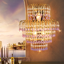 Hotel Large Wall Sconces Bedroom Gold Wall Light for Bedroom Home Lighting Living Room Wall Lights Crystal Wall Lamp Gold Lamp(China)