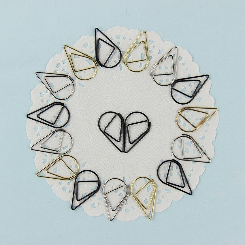 10PCS/Set Mini Raindrop Metal Paper Clips Decoration Water Drop Shape Clips Office Stationery