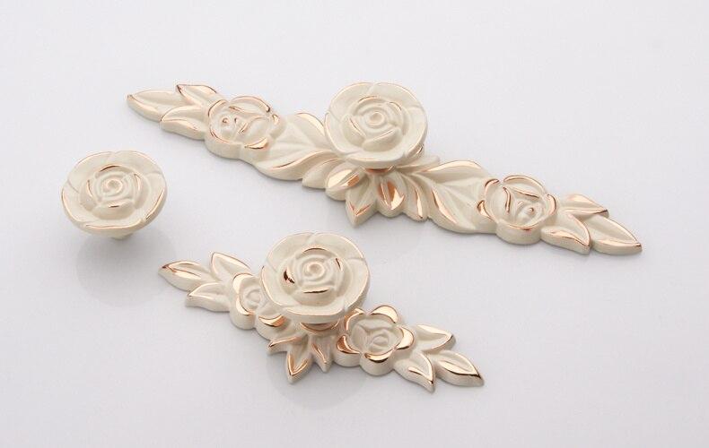 Rosa puxadores de gaveta lgory branco flor ouro gaveta puxar alça armário puxadores de porta da cozinha puxa ferragens decorativas