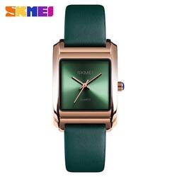 Azul del reloj SKMEI marca de lujo de las mujeres Relojes de Cuero de moda reloj de cuarzo mujer reloj de vestido de mujer 2018 reloj montre femme Relogio femenino