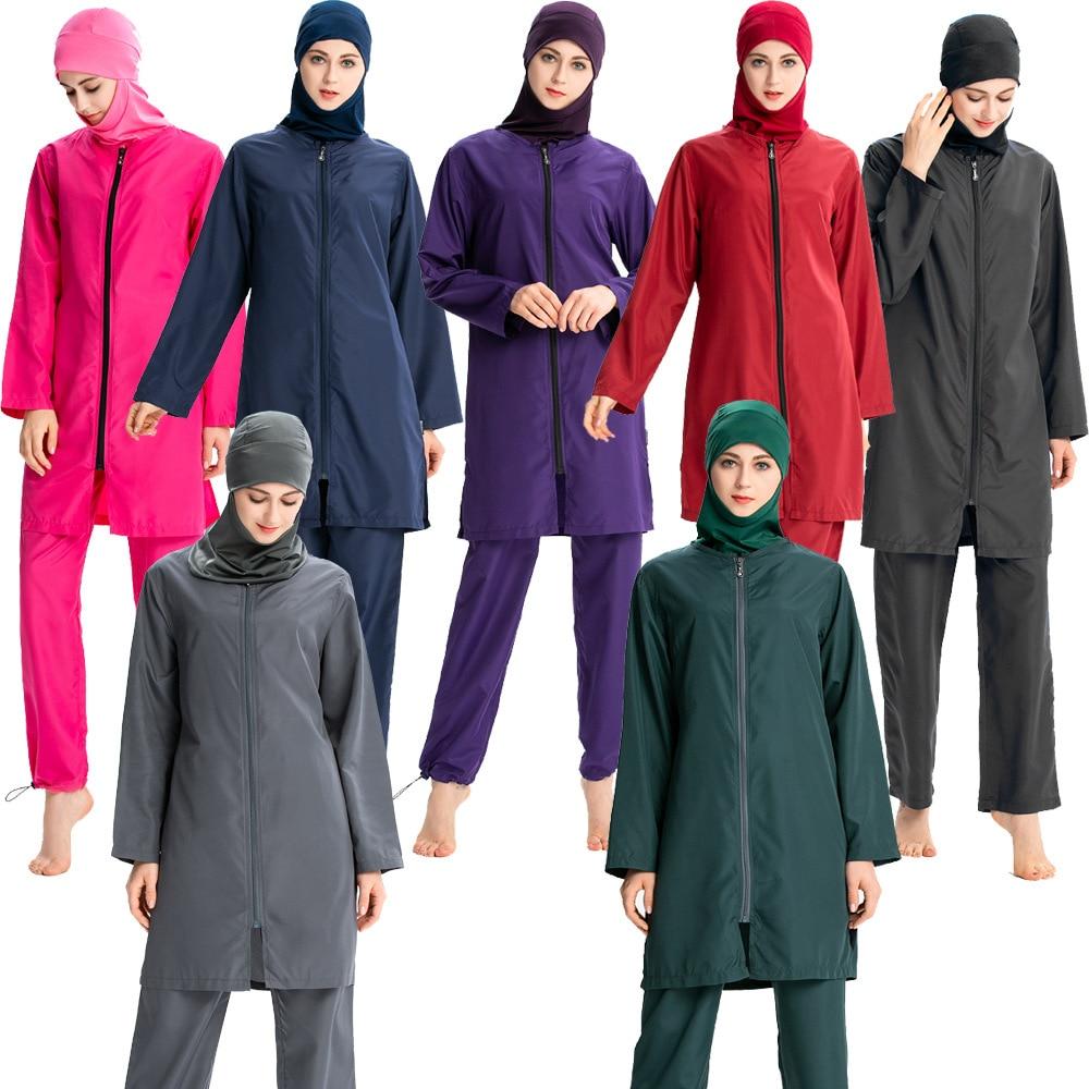 Maillot de bain musulman femmes couleur unie moyen-orient Sportswear conservateur islamique maillot de bain à capuche trois pièces costume