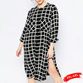 Summer Boyfriend Loose Black And White Shirt Blouse Plus Size Irregular Women Plaid Shirt Dress High Side Slit Female 4Xl 6Xl