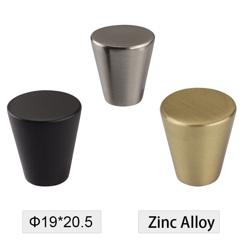 Contemporary Style Cone Shape Solid Zinc Alloy Brush Nickel Copper Matte Black Color Cabinet Knobs Drawer Handle Dresser Pull