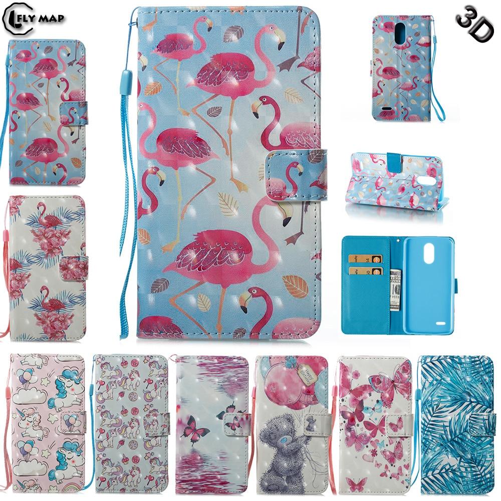 quality design ebb0c d72fc US $4.46 5% OFF|3D Flip Case for LG Stylus 3 M400 M400dY M400MT Flamingo  unicorn Wallet Leather Cover Phone Case for LG Stylo 3 K10 Pro M430 Bag-in  ...