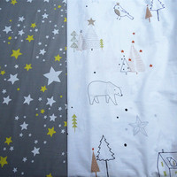 1 Meter 100 235cm Grey Star Or Happy Family Print Baby Infant Pure Cotton Twill Bedding