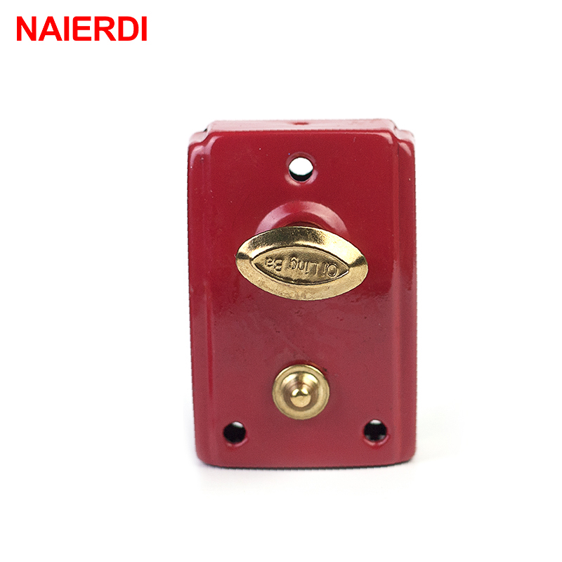 NAIERDI-556 Exterior Door Retro Red Locks Security Anti-theft Lock Multiple Insurance Lock Wood Door Lock For Furniture Hardware free shipping dry battery rfid electronic door locks security anti theft lock multiple insurance lock with battery box