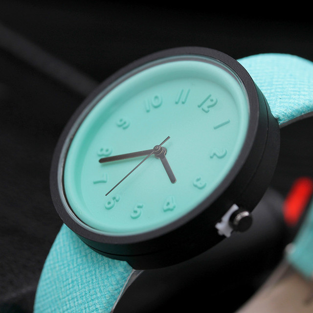 Candy color Fashion Numer simple watches women's quartz wristwatches women casual Black children's watch ladies wrist watch pt1