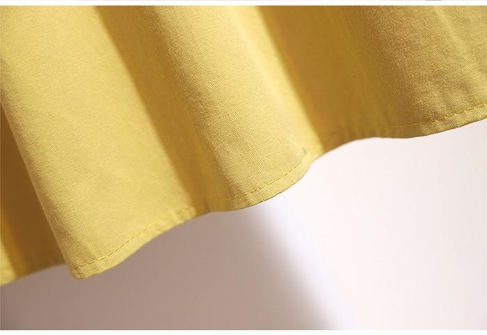 Surmiitro Midi Knee Length Summer Skirt Women With Belt 19 Spring Casual Cotton Solid High Waist Sun School Skirt Female 14