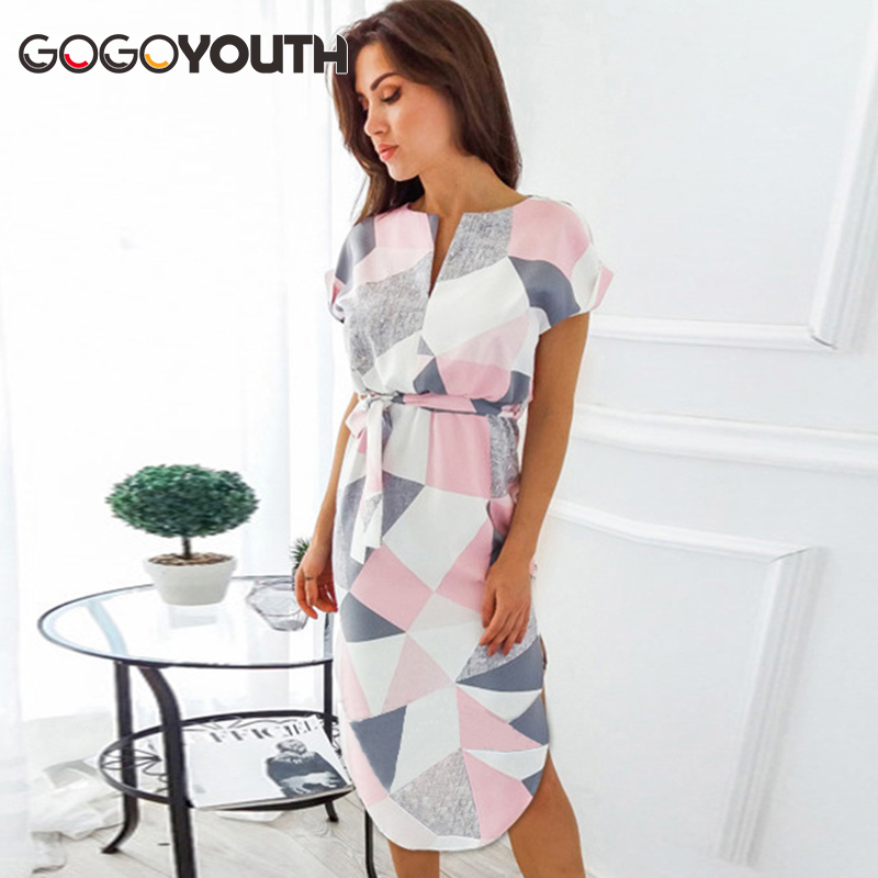Gogoyouth Plus size Summer Dress Women 2018 Short Sleeve Patchwork Big Sundress Tunic Beach Party Dress Midi Long Robe Femme
