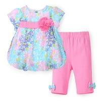 New 2016 Boutique Outfits Bebe Sets Baby Girl Flower Suit Floral Chiffon Blouse Pants Leggings 2pcs