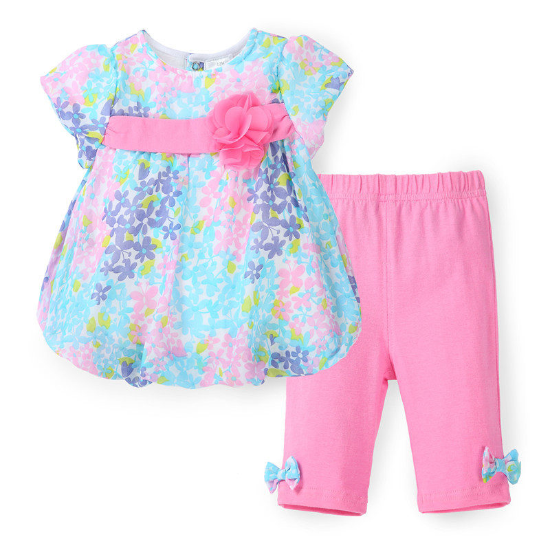 New 2018 Boutique Outfits Bebe Sets Baby Girl Flower Suit Floral Chiffon Blouse+Pants Leggings 2pcs Summer Spring Clothing Sets chiffon shirt summer two sets with pants suit