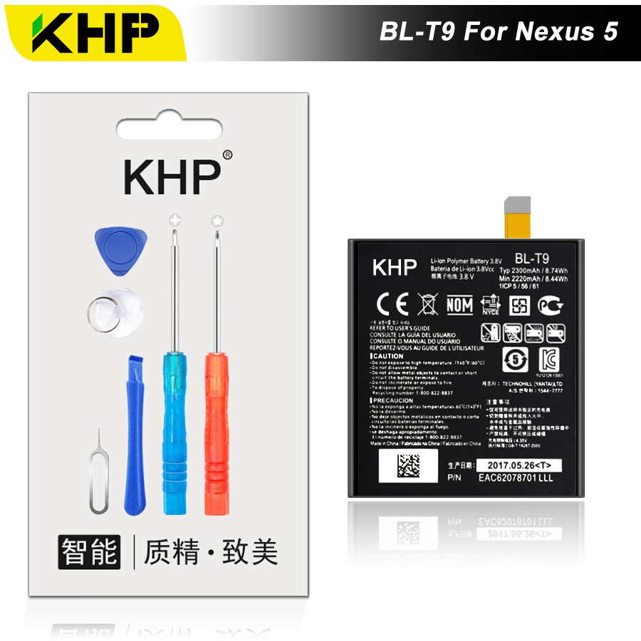 2017 KHP NUOVO 100% BL-T9 Batteria Del Telefono Per LG Nexus 5 BL-T9 BLT9 D820 D821 E980 di Alta Qualità Mobile di Ricambio batteria