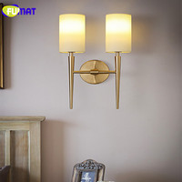 FUMAT Modern Wall Lamps LED Wall Lights for Bedroom Bedside Light Fabric Sconces Gold Wall Luminaire White Lampshade Wall Lamp