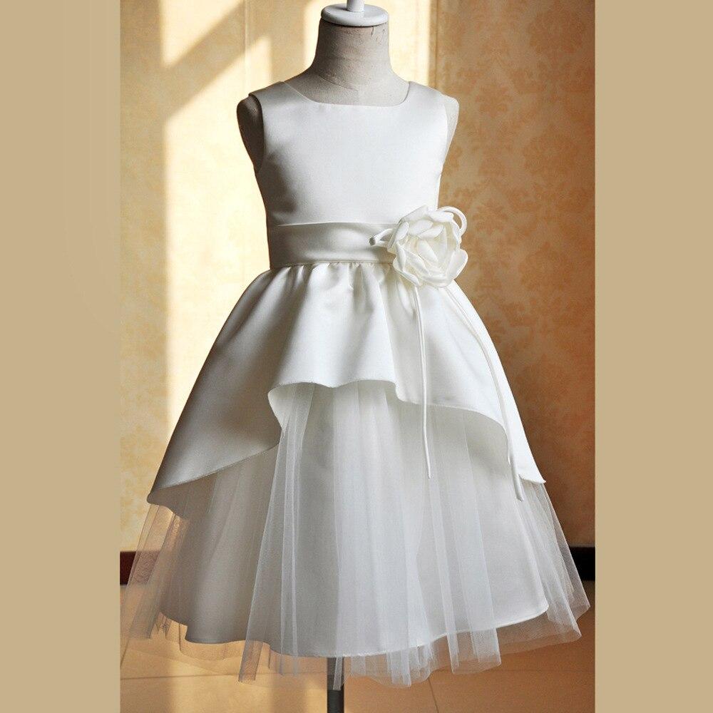 Nicoevaropa New Design Baby Girls Dresses Kids Sleeveless Party Wedding Birthday Dress with Flower Band Children Formal Clothing