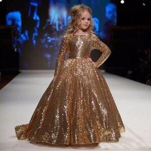 Image 1 - Vestidos dourados para meninas, vestidos elegantes para meninas, de baile, aniversário e festa 12 y