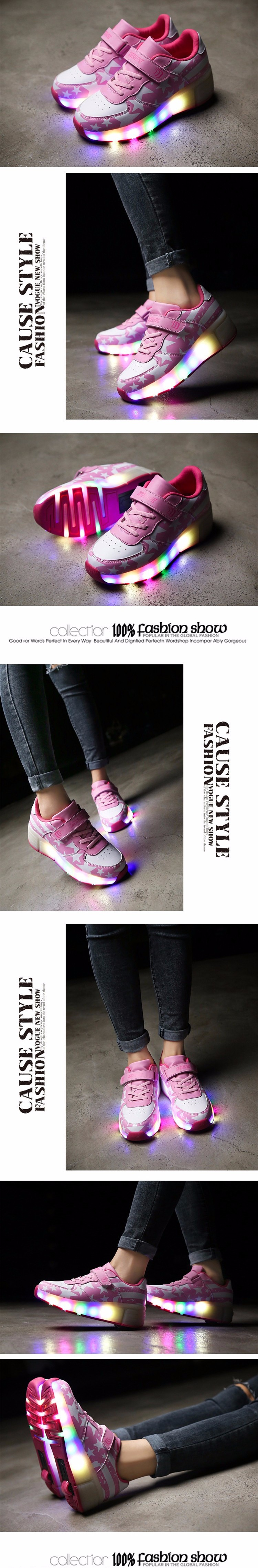 Girls Kids Roller Light Up Shoes Boys Glowing Sneakers with Wheels Star Style Pink Black tenis led infantil rodinha zapatillas4_