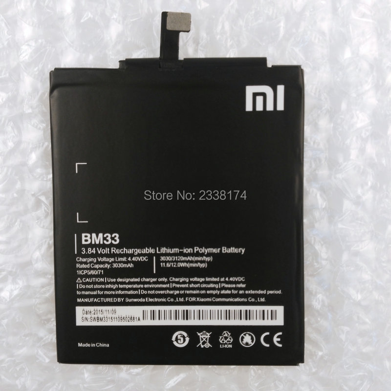 1pcs 100% High Quality BM33 3030mAh Battery For XIaomi 4i M4i Mi4i Xiaomi4i Phone Freeshipping + Tracking Code