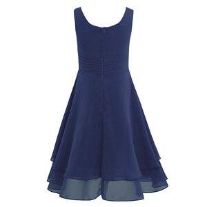 Image 4 - 4 14Y gorąca sprzedaży granatowy niebieski maluch dziewczyny szyfonu wiązane talii Ruched kwiat dziewczyna letnia sukienka mięta zielona ubrania dla dzieci 6 kolory