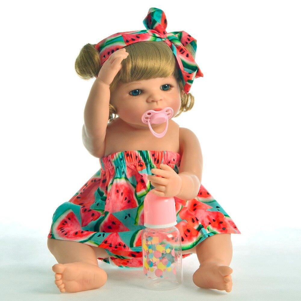 Estilo de vida 22 ''vinilo de silicona completo Reborn Baby Doll Girl rizos dorados niños encantadores muñecas coleccionables con oso de peluche juguetes-in Muñecas from Juguetes y pasatiempos    2