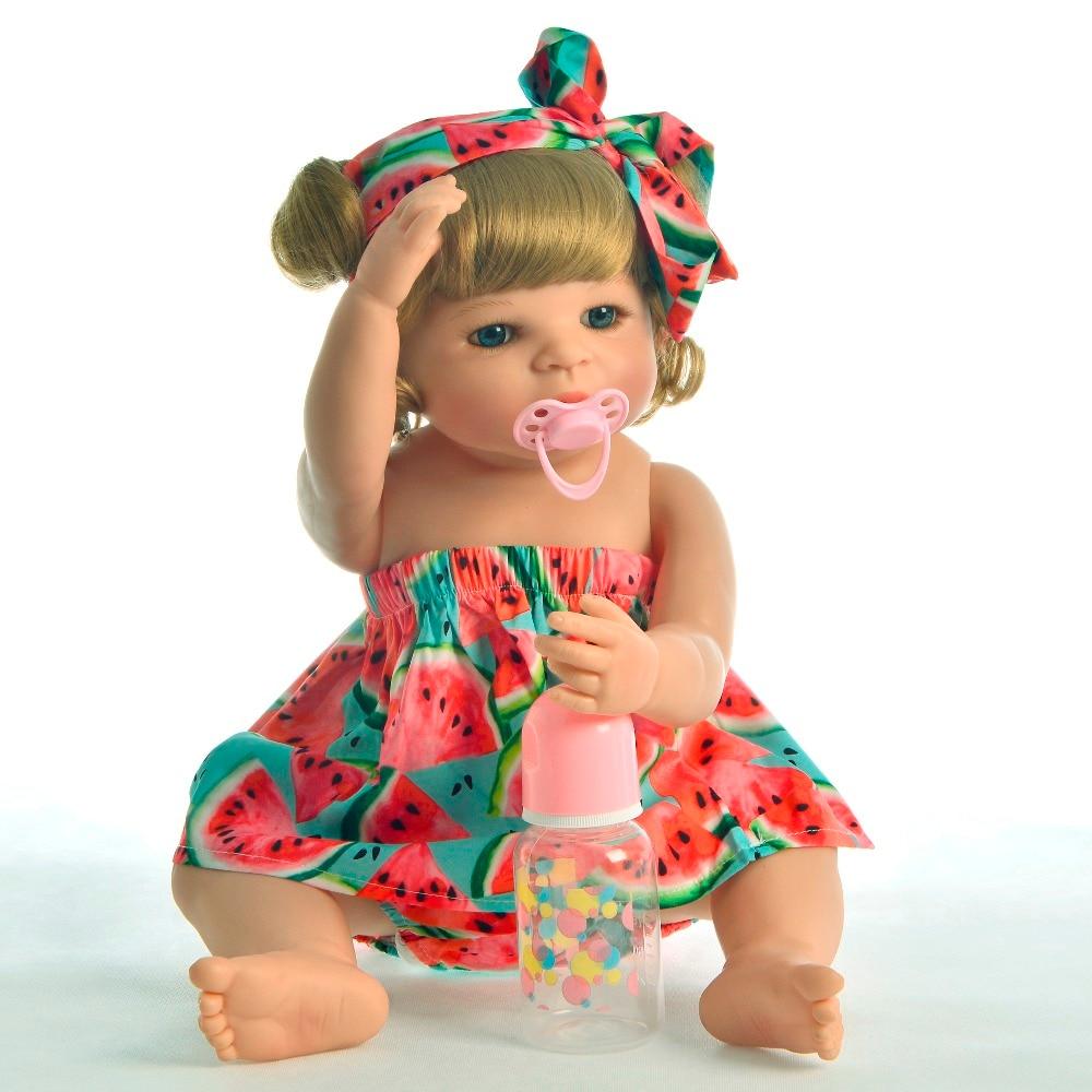 Styl życia 22 ''pełna silikon winylowe Reborn Baby Doll dziewczyna złoty loki maluch piękne kolekcjonerskie lalki dla dzieci z pluszowe Zabawki niedźwiadki w Lalki od Zabawki i hobby na  Grupa 2