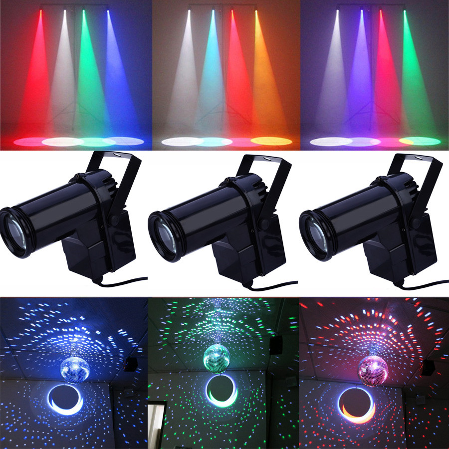BEIAIDI 10W RGB LED Pinspot Spotlight Beam Stage Light Disco DJ Party Pinspot Stage Mirror Ball Reflection Light