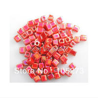 Wholesale Loose Beads 100 Miyuki Cube Bead Opaque Painbow Red Crystal 4MM New Free Shipping