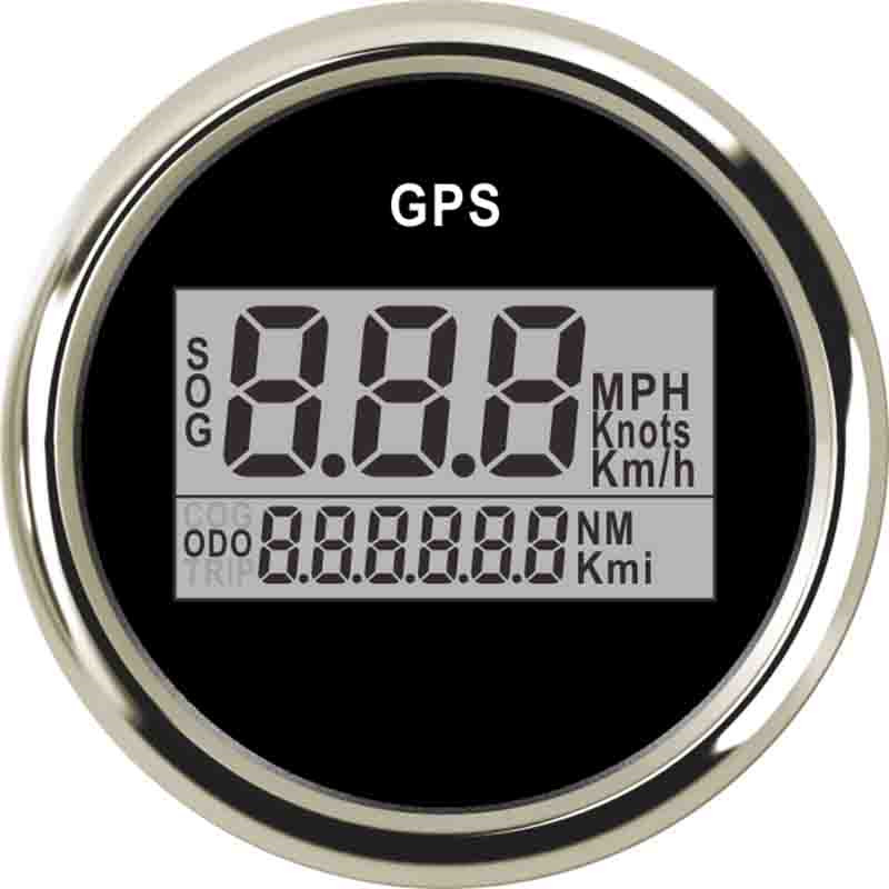 52mm Digital GPS Marine Speedometer 0~999 MPH LCD Speed Gauge Waterproof GPS Speedometer For Car Truck Boat With 316 L Bezel 85mm car gps speedometer truck boat digital lcd speed gauge knots compass with gps antenna