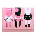 2017 New Women Wallet Girls Mini Lovely Purse Cute Cats Printing Clutch Bifold PU Leather Wallet Card Holder Zipper Short Wallet