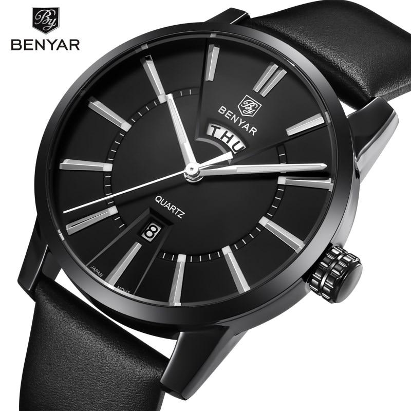 Men Watches BENYAR Luxury Brand Quartz Watch Fashion Business Analog Male Leather Wristwatch Waterproof Clock Relogio Masculino