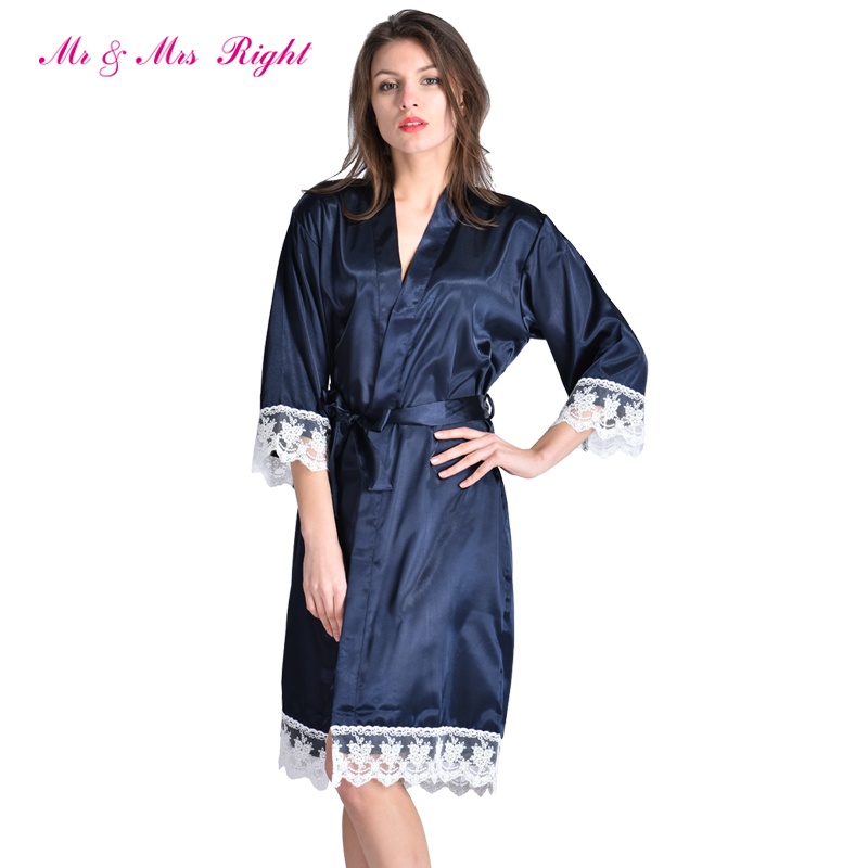 2018 Hot 1PC Satin Bride Robe Sexy Wedding Dressing Gown Lace Silk Bathrobe  Summer Bridesmaid Women ... 009493e73
