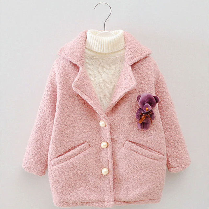 DFXD Baby Girls Autumn Winter Wool Coat Fashion Long Sleeve Soild Single-breasted Outwear High Quality Long Thicken Coat 2-8Y