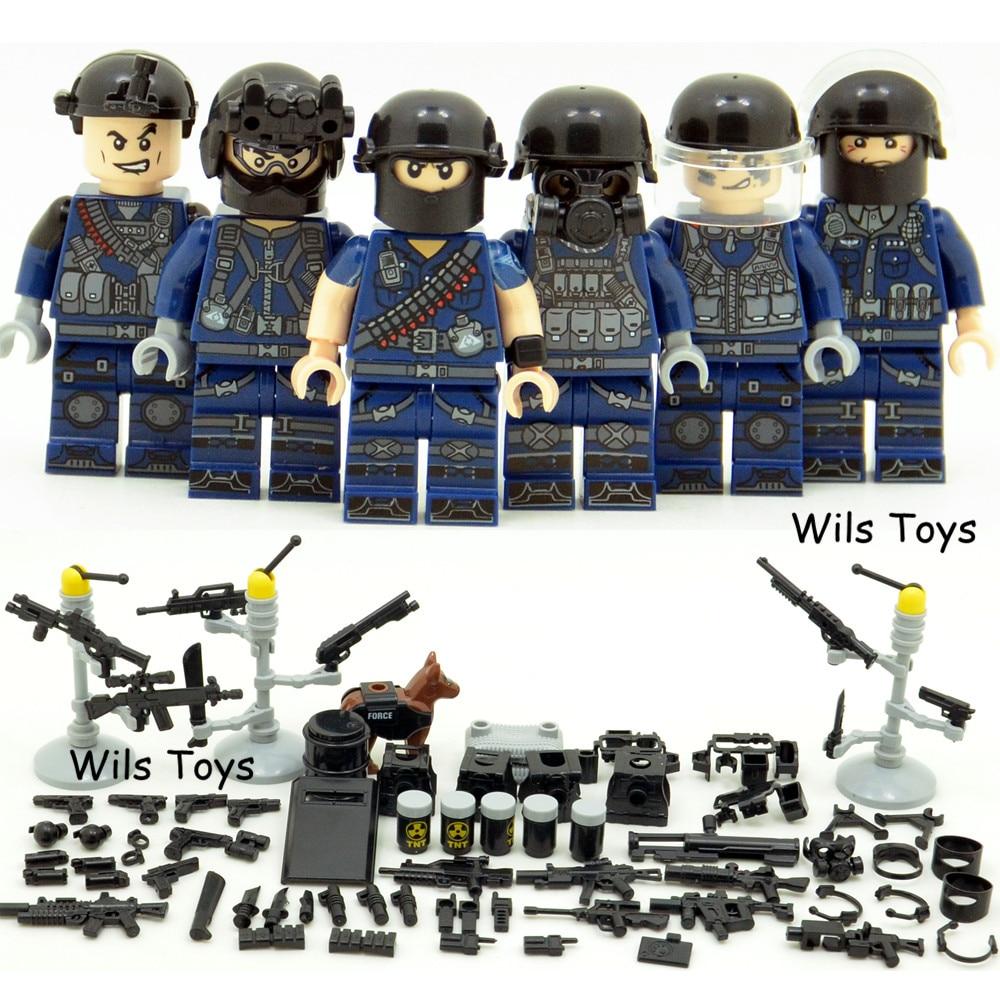 6 pcs SWAT Équipe Ville Monde Policier Guerre 2 Soldat Militaire Army Special forces Blocs de Construction Brique Chiffres Jouets Garçon cadeau Enfants