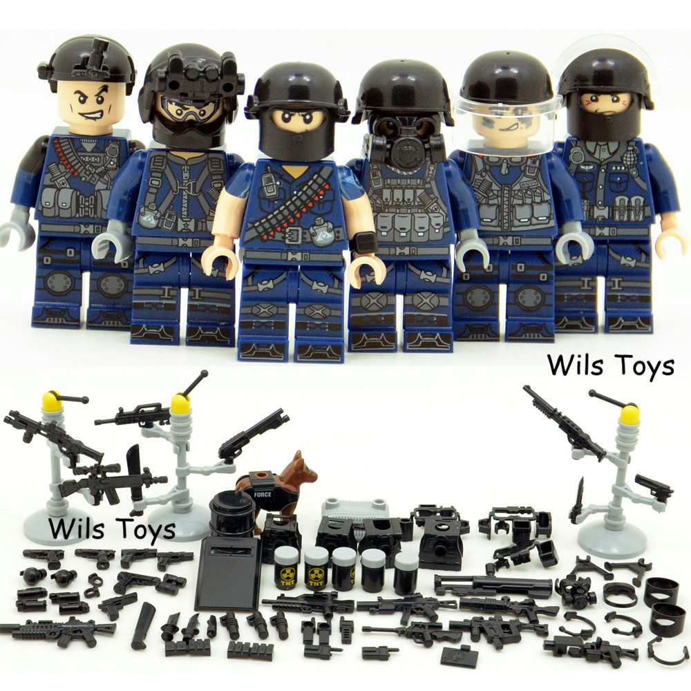 6pcs SWAT Team City Police World War 2 Military Soldier Army Special forces Building Blocks Brick Figures Toys Boy Gift Children 6pcs swat special forces police the wraith assault cs with motorcycles weapons figures building blocks bricks toys for kids