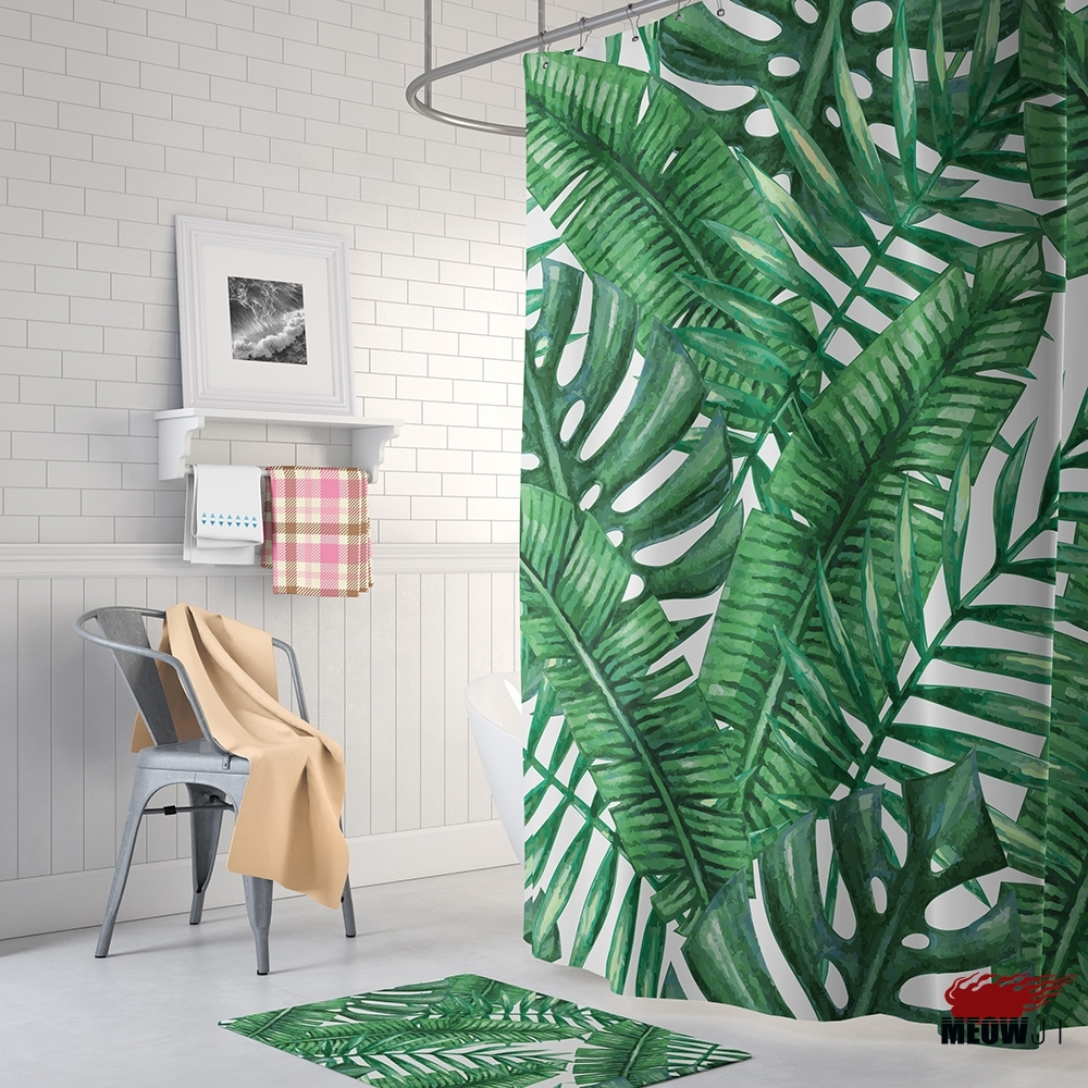 Tropical Tungle Green Leaves Shower Curtain Printed Polyester Fabric ...