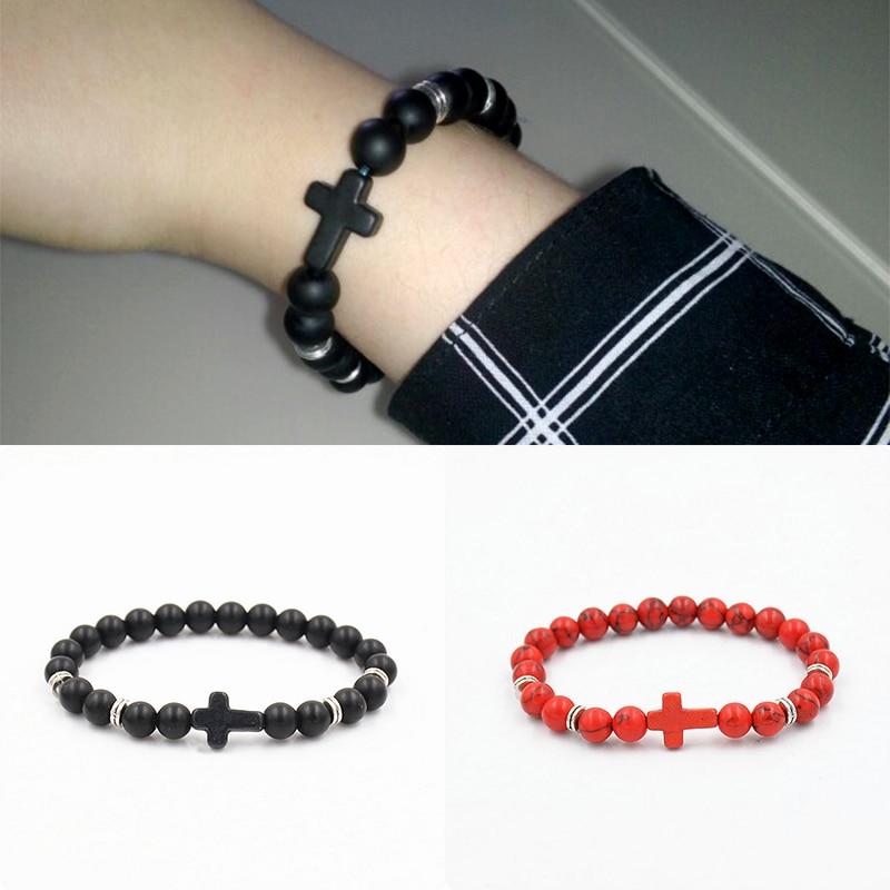 1PC Hot Cross High Quality Rhinestone Beads Matt Dull Polish Unisex Buddha Bracelets Black Red