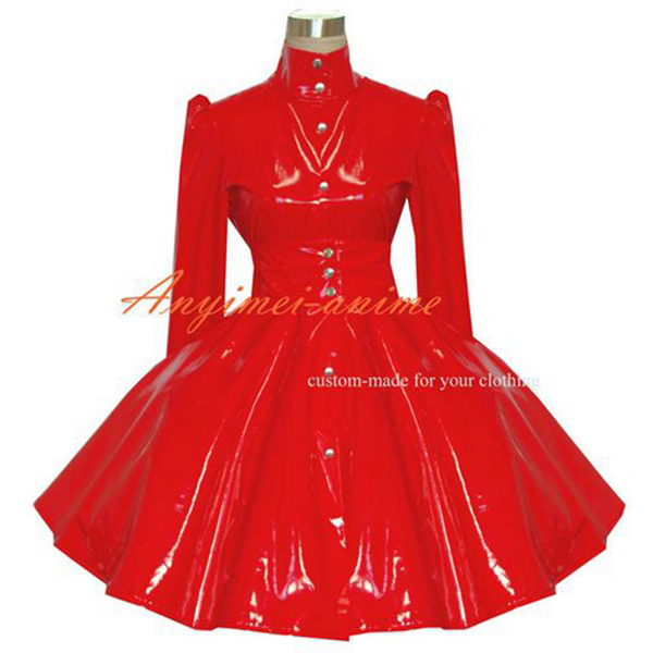 <font><b>Sexy</b></font> Sissy Maid Gothic <font><b>Lolita</b></font> Punk Red Pvc Dress <font><b>Cosplay</b></font> Costume Tailor-made[G380] image