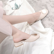Liren 2019 Summer New Casual Elegant Sweet Women Slippers Round Wrapped Toe Decoration Square Heels