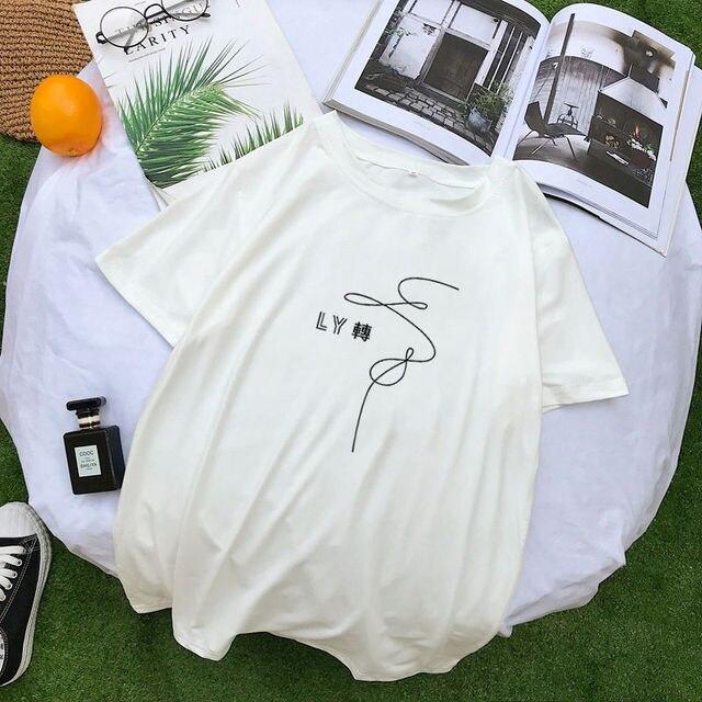 Summer New Kpop T-shirt Harajuku Short Sleeve Tee Shirt Femme Fashion Casual Korean Tumblr Women T Shirt Tops Streetwear Clothes