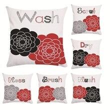 Красный черный цветок письмо наволочка 45*45 полиэстер домашние подушки мягкие декоративные наволочки для дивана наволочка, для стула