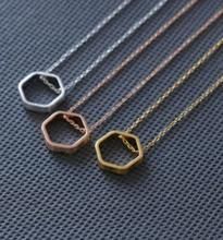 tiny bees honeycomb beehive Hexagon pendants necklace Chain Simple metal charms Necklaces For Women fashion jewelry girl gift