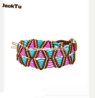 2014 New Style 2 Wrap Blue And Red Seed Beads Nylon Bracelet