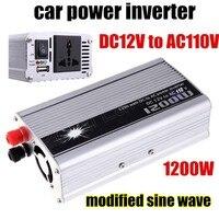 Ładowarka samochodowa USB Zmodyfikowana Sine Wave Hurtownie 1200 W DC 12 V do AC110V Napięcia Transformatora Przetwornicy Zasilania Samochodów