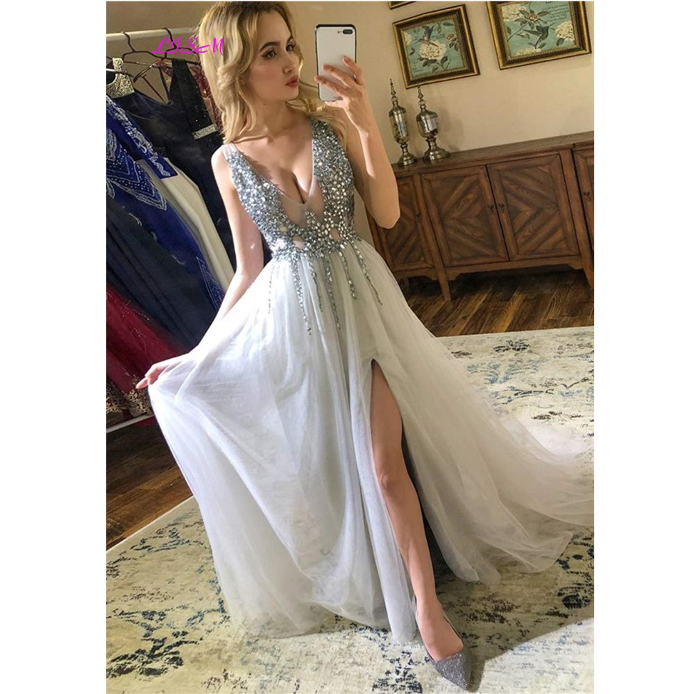 2019 Silver   Prom     Dress   vestidos Sexy V-Neck Crystals Split Long Evening   Dresses   Backless Sleeveless   Prom   Party Woman   Dress